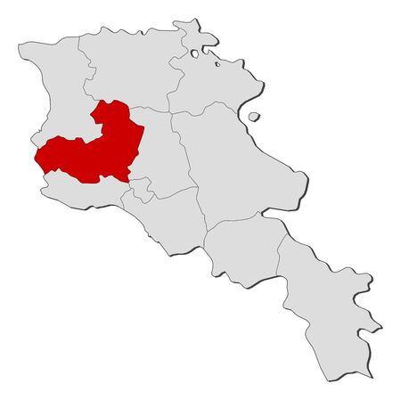 Political map of Armenia with the several states where Aragatsotn is highlighted.