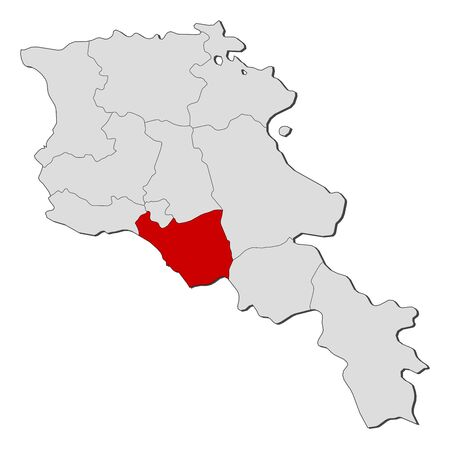 Political map of Armenia with the several states where Ararat is highlighted.