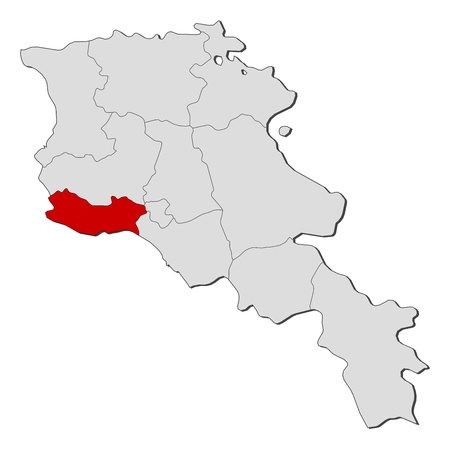 Political map of Armenia with the several states where Armavir is highlighted.