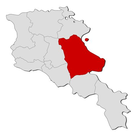 Political map of Armenia with the several states where Gegharkunik is highlighted. Illustration