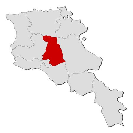 Political map of Armenia with the several states where Kotayk is highlighted. Illustration