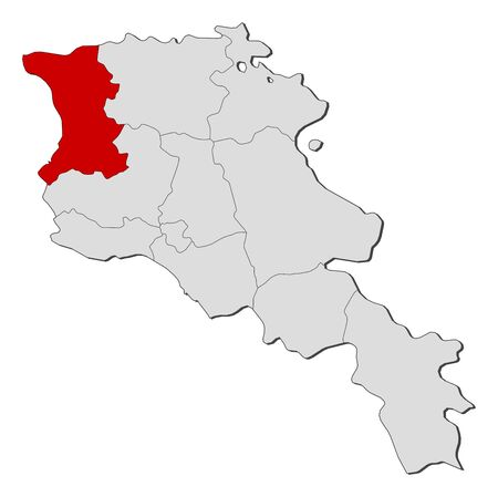 Political map of Armenia with the several states where Shirak is highlighted.