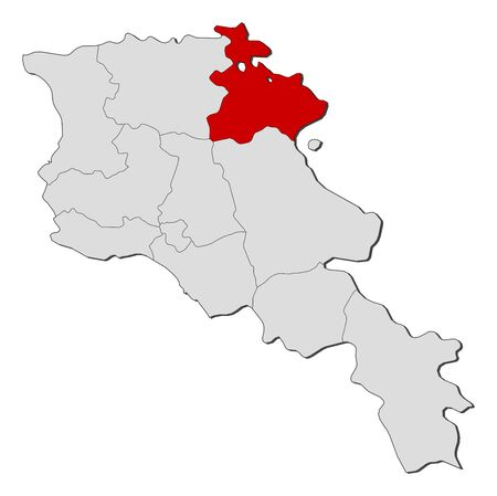 Political map of Armenia with the several states where Tavush is highlighted.