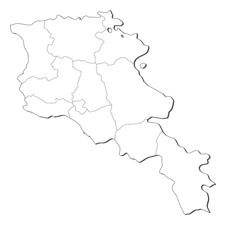 Political map of Armenia with the several provinces. Stock Vector - 14324251