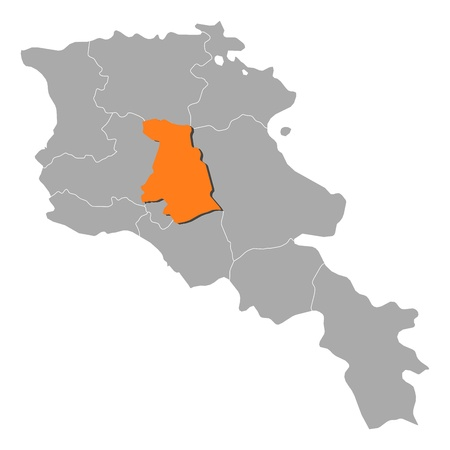 Political map of Armenia with the several states where Kotayk is highlighted. Vector