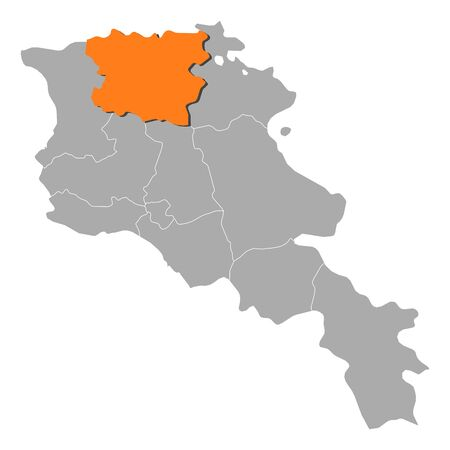 Political map of Armenia with the several states where Lori is highlighted.
