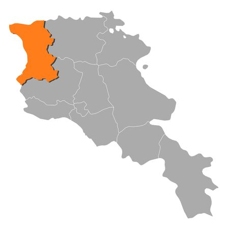 Political map of Armenia with the several states where Shirak is highlighted. Vector
