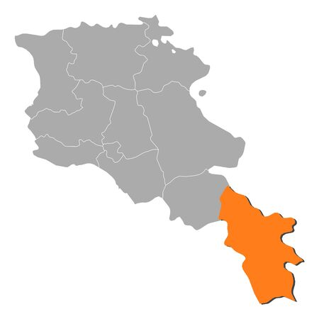 Political map of Armenia with the several states where Syunik is highlighted.