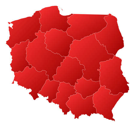 Political map of Poland with the several provinces (voivodschips). Stock Vector - 14324440
