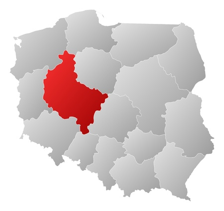 wielkopolskie: Political map of Poland with the several provinces (voivodships) where Greater Poland is highlighted.