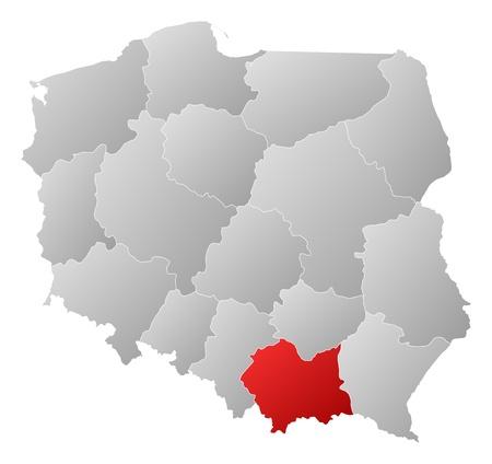 highlighted: Mappa politica della Polonia con le diverse province (voivodati) dove � evidenziato Piccola Polonia. Vettoriali