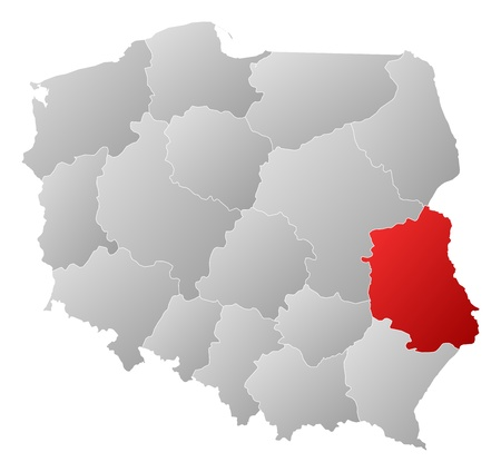Political map of Poland with the several provinces (voivodships) where Lublin is highlighted. Stock Vector - 14324402