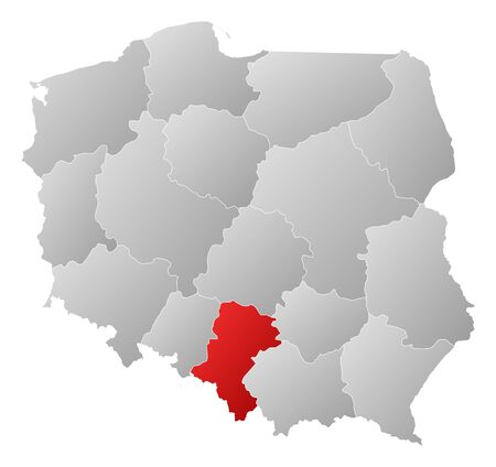 Political map of Poland with the several provinces (voivodships) where Silesian is highlighted. Stock Vector - 14324392