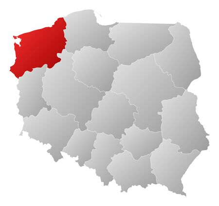 Political map of Poland with the several provinces (voivodships) where West Pomeranian is highlighted. Stock Vector - 14324400