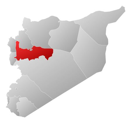 Political map of Syria with the several governorates where Hama is highlighted. Stock Vector - 14324424