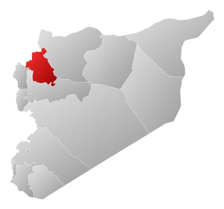 Political map of Syria with the several governorates where Idlib is highlighted. Stock Vector - 14324405