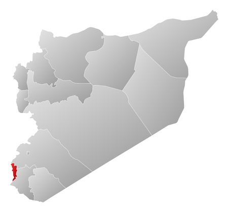 western asia: Political map of Syria with the several governorates where Quneitra is highlighted. Illustration