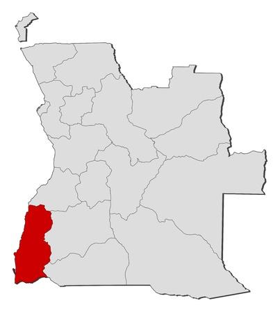 land mark: Mapa pol�tico de Angola con los diversos estados en donde se destaca Namibe. Vectores