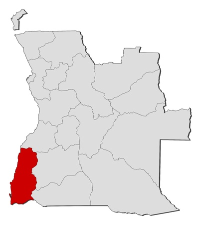 angola: Political map of Angola with the several states where Namibe is highlighted.
