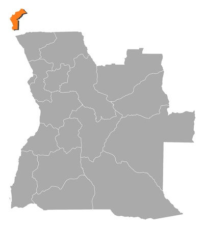 Political map of Angola with the several states where Cabinda is highlighted. Vector