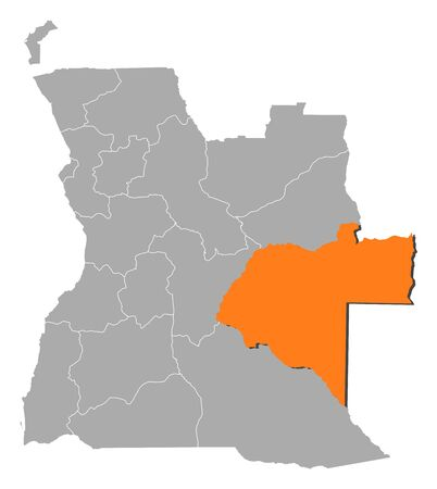 Political map of Angola with the several states where Moxico is highlighted. Vector