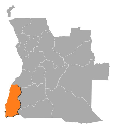 Political map of Angola with the several states where Namibe is highlighted. Vector