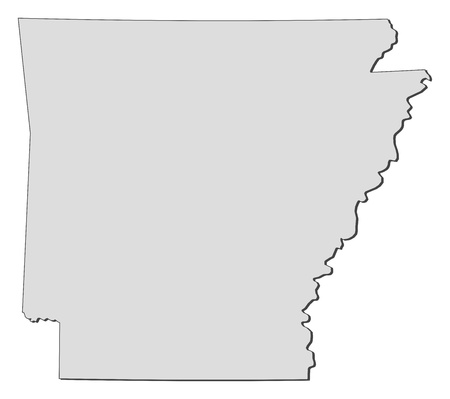 Map of Arkansas, a state of United States. Illustration