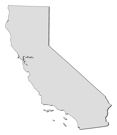 emphasize: Map of California, a state of United States.