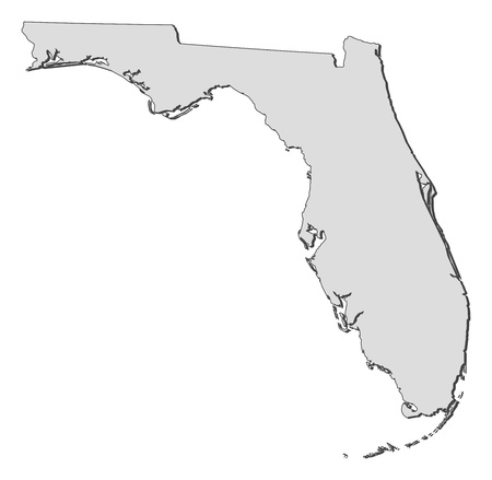 emphasize: Map of Florida, a state of United States. Illustration