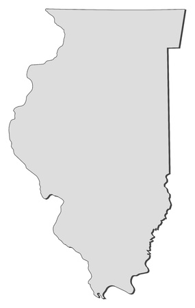 Map of Illinois, a state of United States. Vector