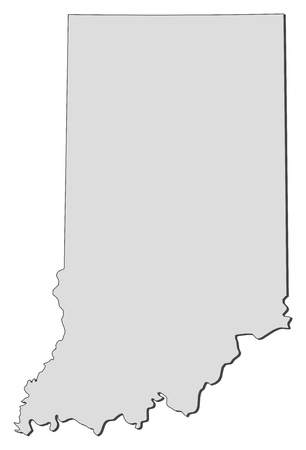 Map of Indiana, a state of United States.
