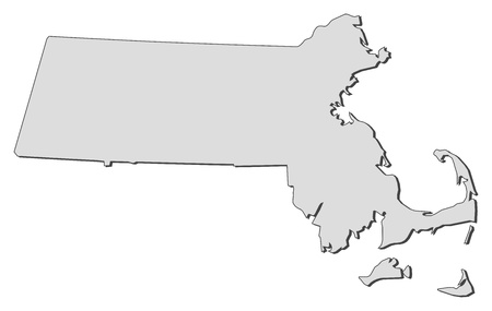 Map of Massachusetts, a state of United States. Ilustração