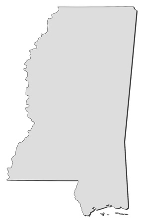 ms: Map of Mississippi, a state of United States.