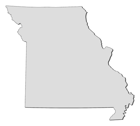 emphasize: Map of Missouri, a state of United States. Illustration