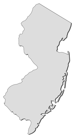state: Map of New Jersey, a state of United States. Illustration
