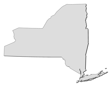 outline maps: Map of New York, a state of United States.