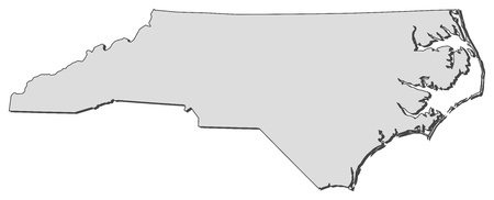 Map of North Carolina, a state of United States.