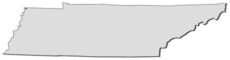 Carte de Tennessee, un état des États-Unis. Banque d'images - 14368606
