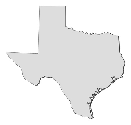 Map of Texas, a state of United States. Illustration