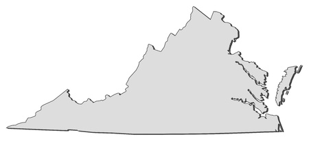 virginia: Map of Virginia, a state of United States.