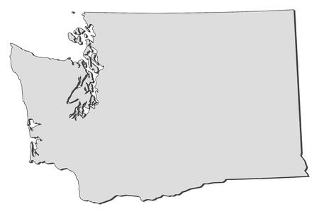 land mark: Mapa de Washington, un estado de los Estados Unidos.