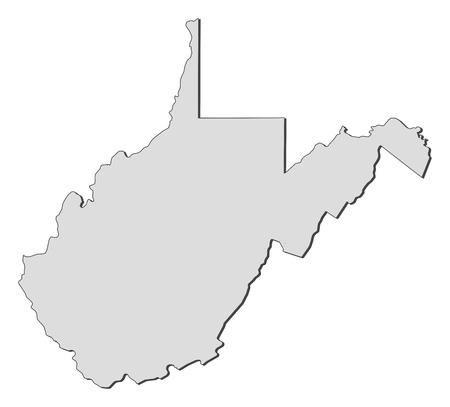 Map of West Virginia, a state of United States.