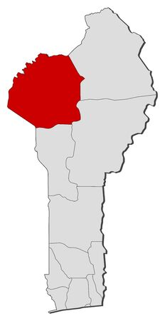 Political map of Benin with the several departments where Atakora is highlighted. Illustration