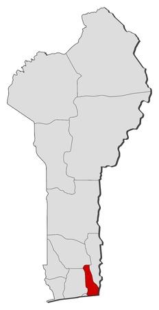 eacute: Mappa politica del Benin con i vari dipartimenti in cui � evidenziato Ouema eacute.