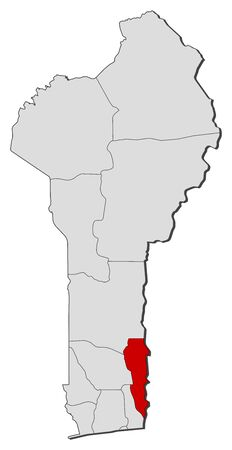 plateau: Political map of Benin with the several departments where Plateau is highlighted.