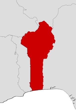 Map of Benin where Benin is highlighted. Stock Vector - 14395974