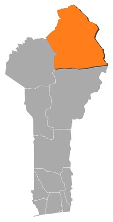 Map of Benin where Alibori is highlighted. Vector