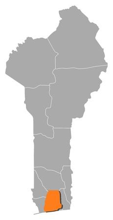 highlighted: Mappa di Benin, dove � evidenziata Atlantique. Vettoriali
