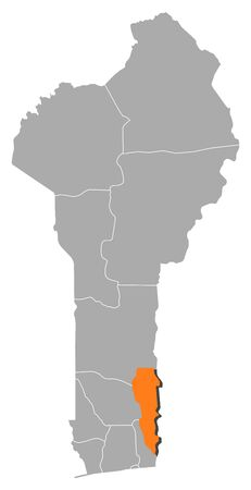 plateau: Map of Benin where Plateau is highlighted.