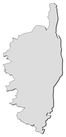 corsica: Map of Corsica, a region of France. Illustration